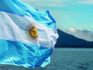 Argentina flag with mountains in background; Shutterstock ID 360629600; Purchase Order: -