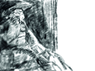 Portrait of a lonely old man. Oldster in a cap looks out the window. Black oil pastel, watercolor paper texture. Academic drawing. Black and white illustration.; Shutterstock ID 1325590970; PO Number - Raise a BBC PO Using Vendor No. 1150465: -; Employee Email: -