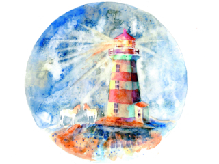 watercolor old red and white lighthouse with two white horses near it on the round colorful texture background; Shutterstock ID 680389918; PO Number - Raise a BBC PO Using Vendor No. 1150465: -; Employee Email: -