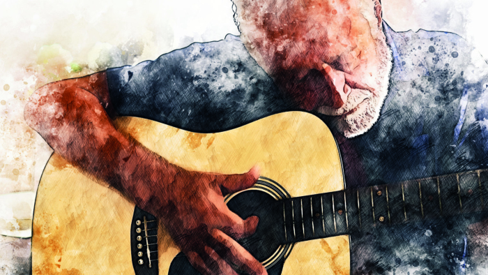 Abstract senior man playing acoustic Guitar in the foreground on Watercolor painting background and Digital illustration brush to art.; Shutterstock ID 1619470546; Project: -
