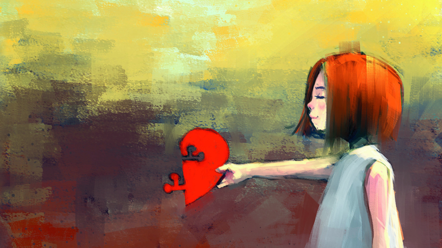 digital painting of witch girl with red puzzle heart, acrylic sketched on canvas texture, story telling illustration; Shutterstock ID 650531467; Purchase Order: purchase_order