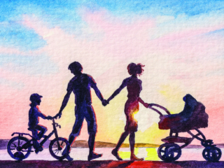 Family is walking with a newborn in a stroller and a son on a bicycle. Mom and Dad with children in the park with a lake.; Shutterstock ID 1560259427; Purchase Order: purchase_order